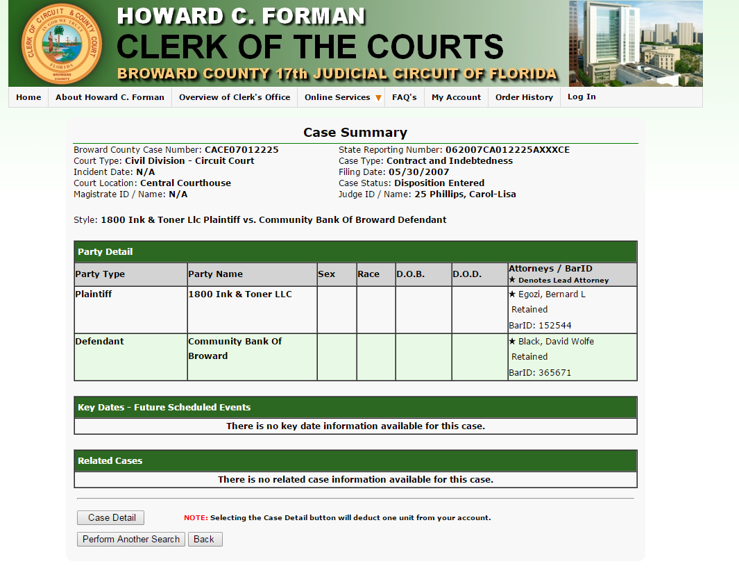 Actual case number against Community Bank of Broward